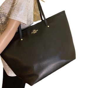 Large black Coach leather bag